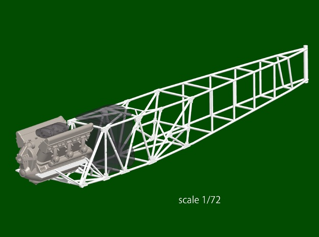Avia B.534 fuselage structure, scale 1/72 in Smoothest Fine Detail Plastic