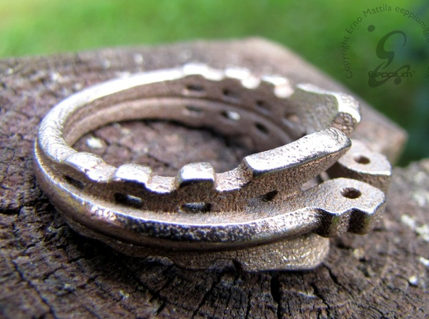MechaRing Size 11 in Polished Bronzed Silver Steel