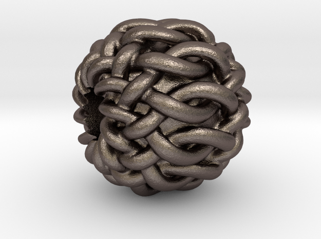 "Celtic ""12-Box Knot"" bead in Polished Bronzed Silver Steel"