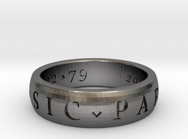 Sir Francis Drake, Sic Parvis Magna Ring Size 8.5 in Polished Nickel Steel