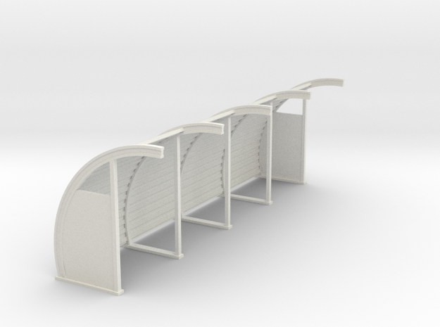 Quonset 4 Panel 8ft - 72:1 Scale in White Natural Versatile Plastic
