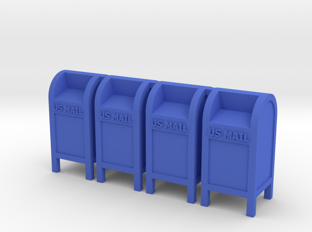 Mail Box - 'O' 48:1 Scale Qty (4) in Blue Processed Versatile Plastic