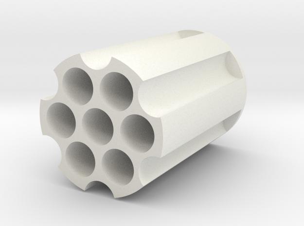 Revolver Cylinder Pencil Holder in White Natural Versatile Plastic