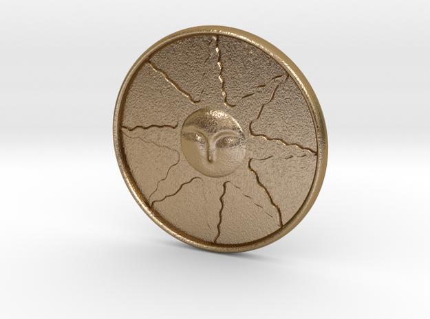 Sunlight Medal in Polished Gold Steel