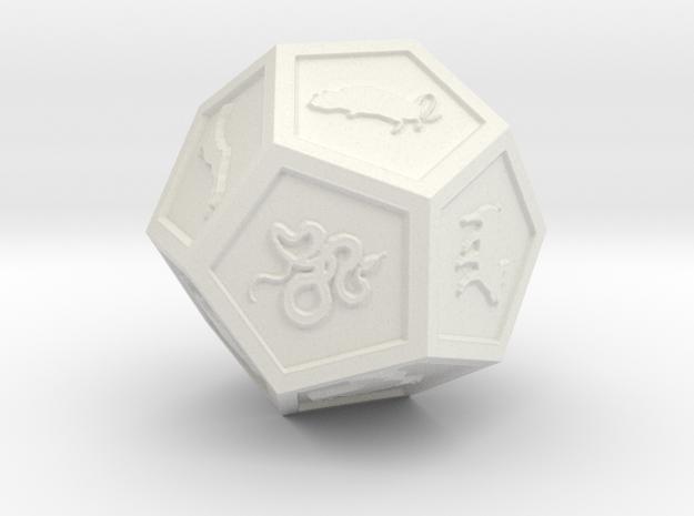 Dodec chinese zodiac in White Natural Versatile Plastic: Small