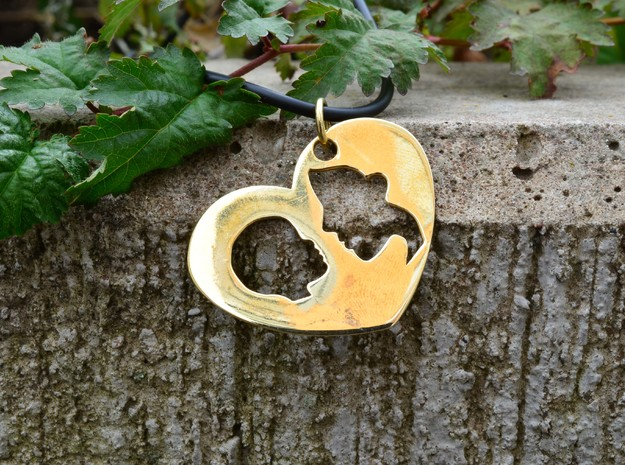 Mother-child pendant in Polished Brass (Interlocking Parts)