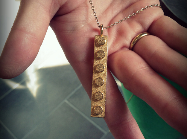 Lego Pendant Skinny 3d printed Shown here in Polished Gold Steel.