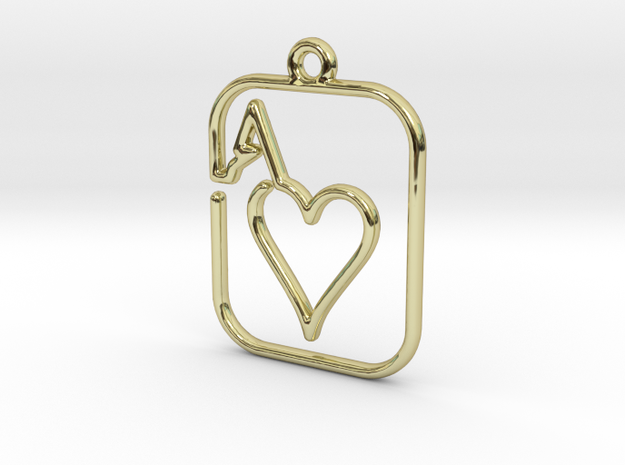 The Ace of Heart continuous line pendant in 18k Gold Plated Brass