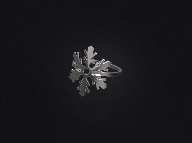 Snowflake Ring 02 in Polished Bronzed Silver Steel