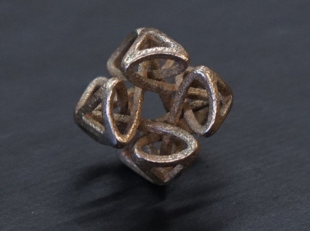 Pendant Cubic in Polished Bronzed Silver Steel