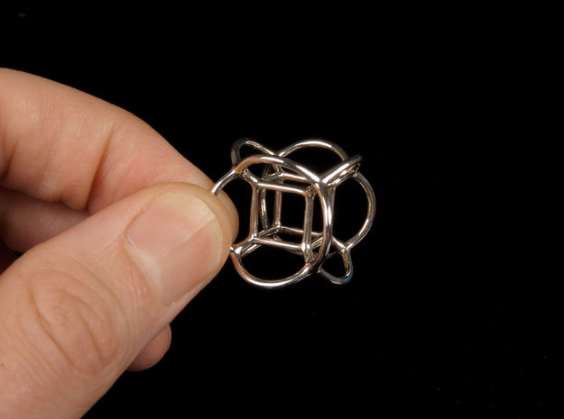 Soap Bubble Hyper Cube (S) 3d printed Printed in Polished Silver
