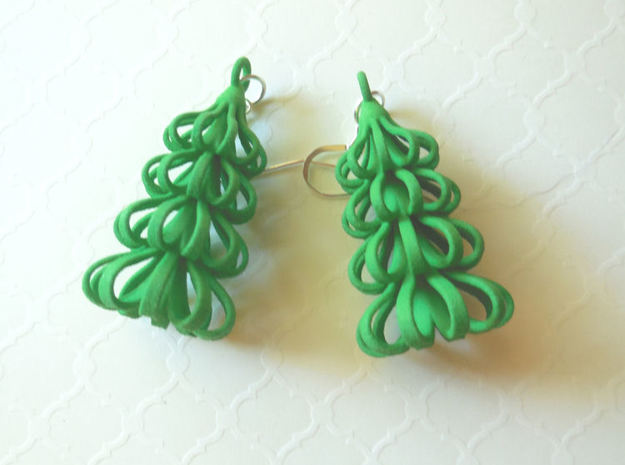 Tree - 3D Printed Earrings in Plastic in Green Processed Versatile Plastic
