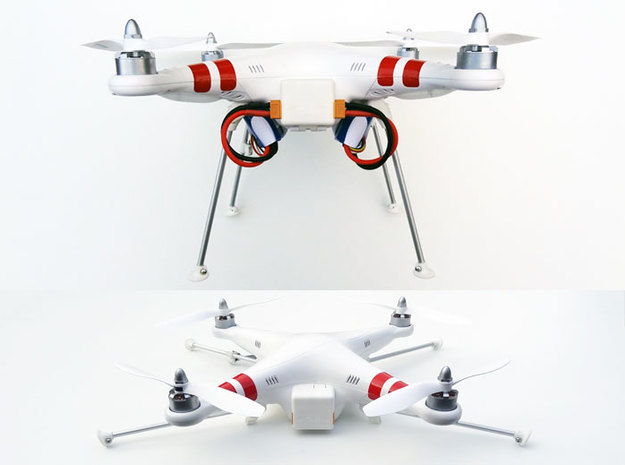 DJI Phantom Foldable Battery Landing Gear in White Natural Versatile Plastic