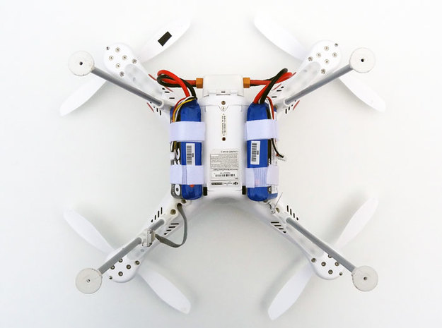 DJI Phantom Foldable Battery Landing Gear 3d printed DJI Phantom Foldable Battery Landing Gear bottom view with batteries