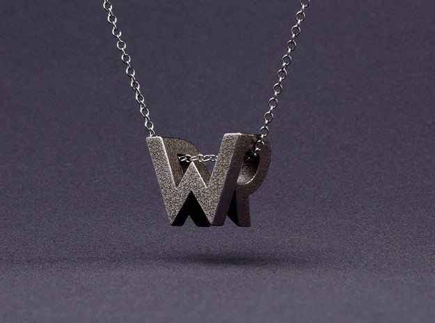 Mymo Steel Monogram Necklace 3d printed Shown with W and R - pick any two letters or numbers