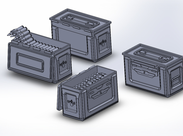 1/48 .50 Cal Ammo cans assorted open and closed (1 3d printed Assorted