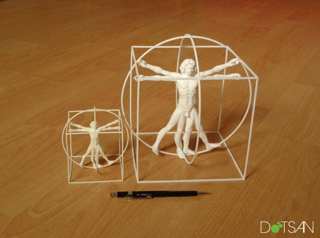 200mm High Vitruvian Man in White Natural Versatile Plastic