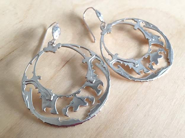 BlakOpal Victorian Open Hoop Earrings in Polished Silver