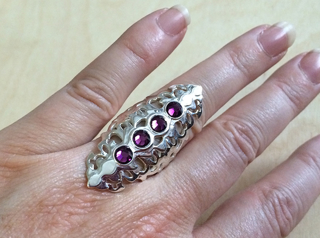 BlakOpal Gothic Filligree Ring - size 8 in Fine Detail Polished Silver