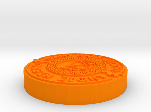 Coin Pendant in Orange Processed Versatile Plastic