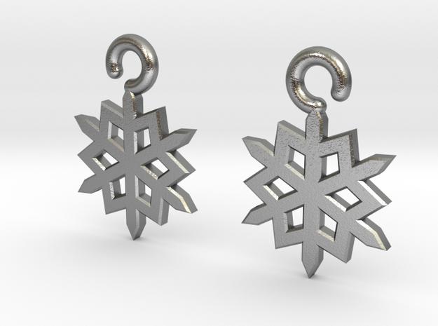 Snowflake Earrings in Natural Silver