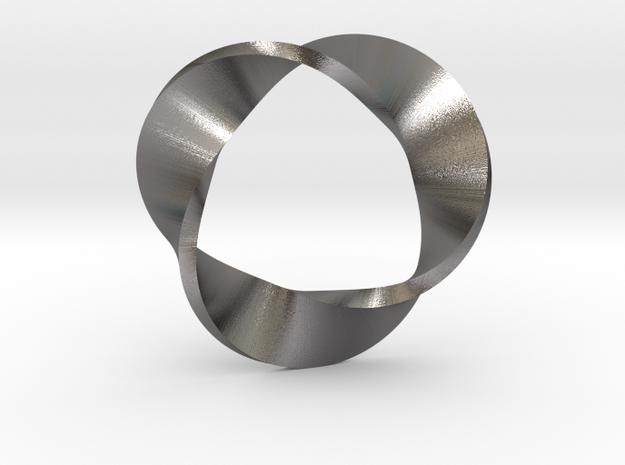 Mobius Strip three twists in Polished Nickel Steel: Medium