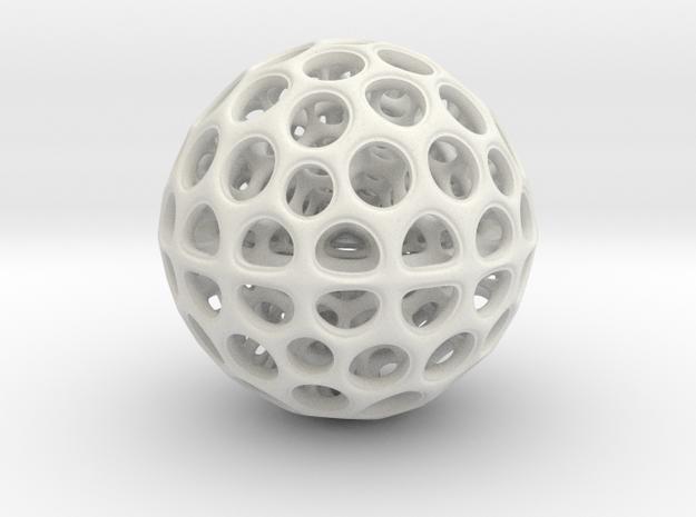 Radiolarian Sphere 3 in White Natural Versatile Plastic