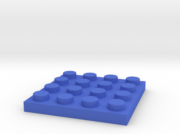 Toy Brick flat 4x4 in Blue Processed Versatile Plastic