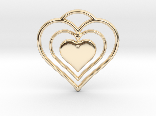 Solid Heart in 14k Gold Plated Brass