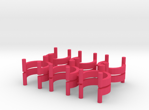 Collector Pins Magnet Adapters (12 pack - stacked) in Pink Processed Versatile Plastic