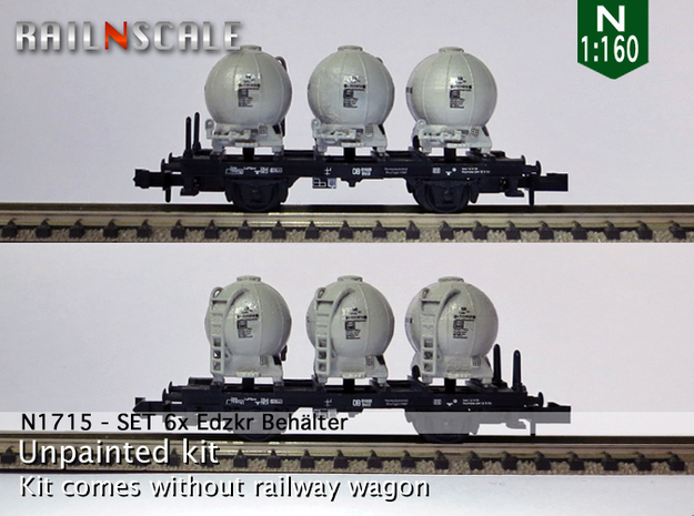 SET 6x Edzkr 571 Behälter (Roco) (N 1:160) in Frosted Ultra Detail