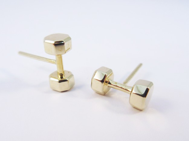 Dumbbells Earrings for the Fitness Fanatic in Polished Brass