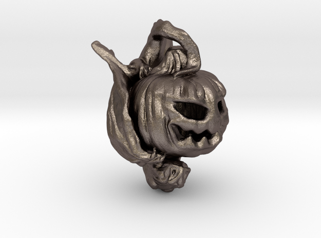 Pumpkin Gargoyle Pendant in Polished Bronzed Silver Steel