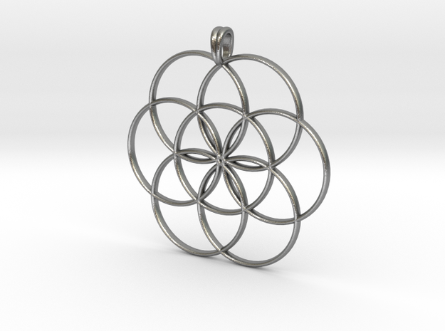 SEED OF LIFE Sacred Geometry Symbol Necklace in Natural Silver