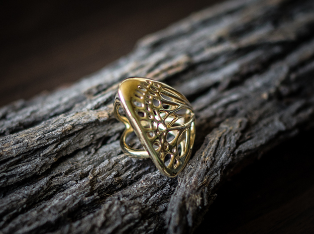 Butterfly Ring [ Size 4 ] 3d printed Material : Polished Brass