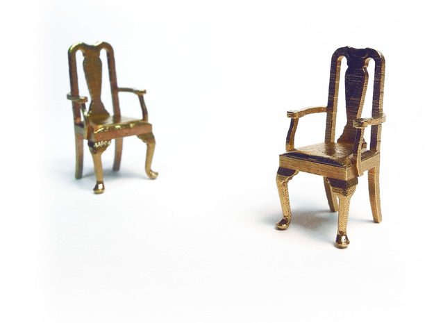 Pair of 1:48 Queen Anne Chairs, with arms in Natural Brass