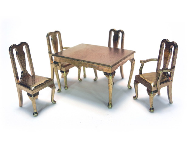 Pair of 1:48 Queen Anne Chairs, with arms 3d printed Shown with other Queen Anne pieces, sold separately