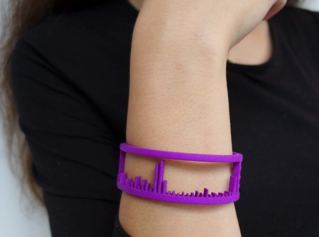 Mass Spectrum Bracelet - Science Jewelry in Purple Processed Versatile Plastic: Medium
