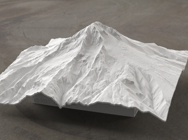 6'' Mt. Hood Terrain Model, Oregon, USA 3d printed Radiance rendering