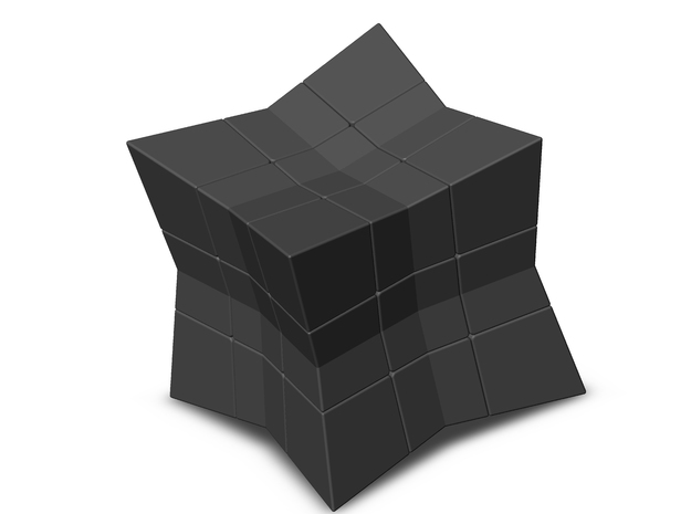 Cube inward 3*3*3 (without spider) in Black Natural Versatile Plastic