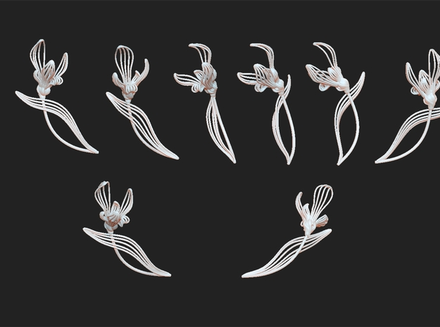 Chinese orchids  brooch 3d printed