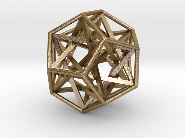 """Interlocking Tetrahedrons Dodecahedron 1.4"""" in Polished Gold Steel"""