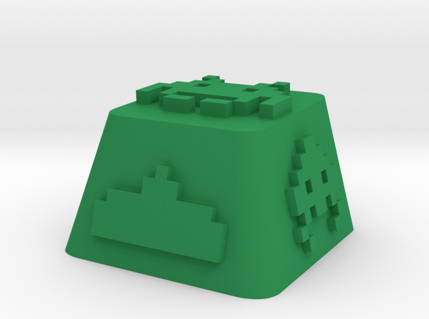 Space Invader in Green Processed Versatile Plastic