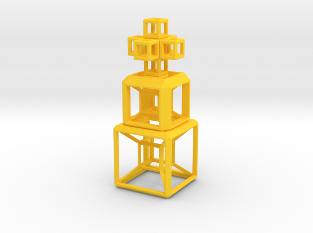 SCULPTURE COLLECTION 2 HyperCubes 1 Cross in Yellow Processed Versatile Plastic