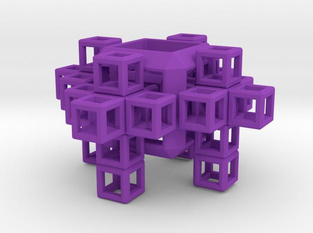 SCULPTURE COLLECTION: 4 Crosses 1 Tesseract in Purple Processed Versatile Plastic