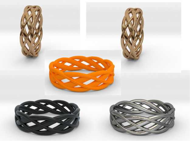 ring Double Braid in Orange Strong & Flexible Polished: 6 / 51.5