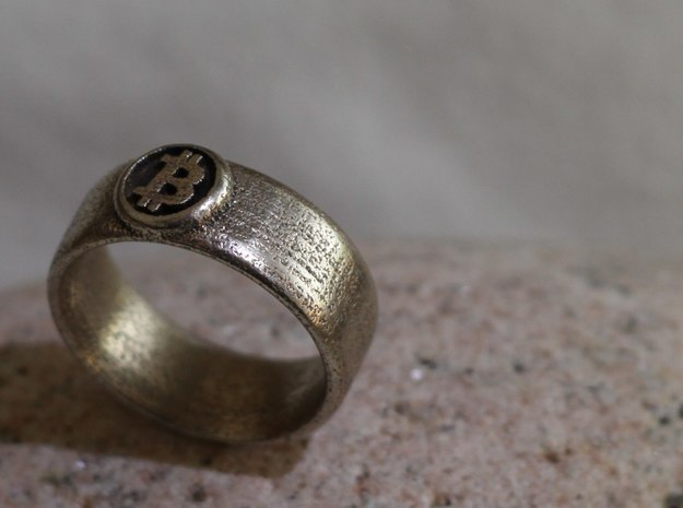Bitcoin Ring (BTC) - Size 8.0 (U.S. 18.14mm dia) in Polished Bronzed Silver Steel