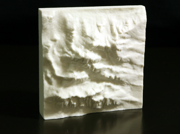 3'' Grand Tetons, Wyoming, USA, Sandstone 3d printed Photo of actual model; North is up.