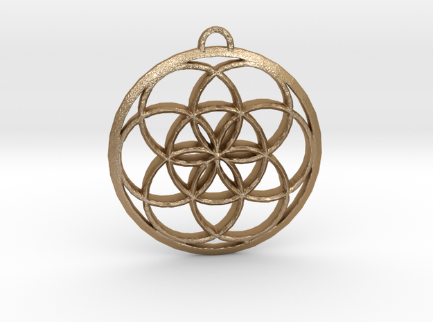 Seed Of Life in Matte Gold Steel: Small