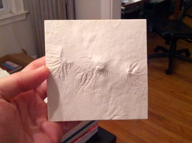 4''/10cm Mt. Kilimanjaro, Tanzania, Sandstone 3d printed Photo of actual model, North is up
